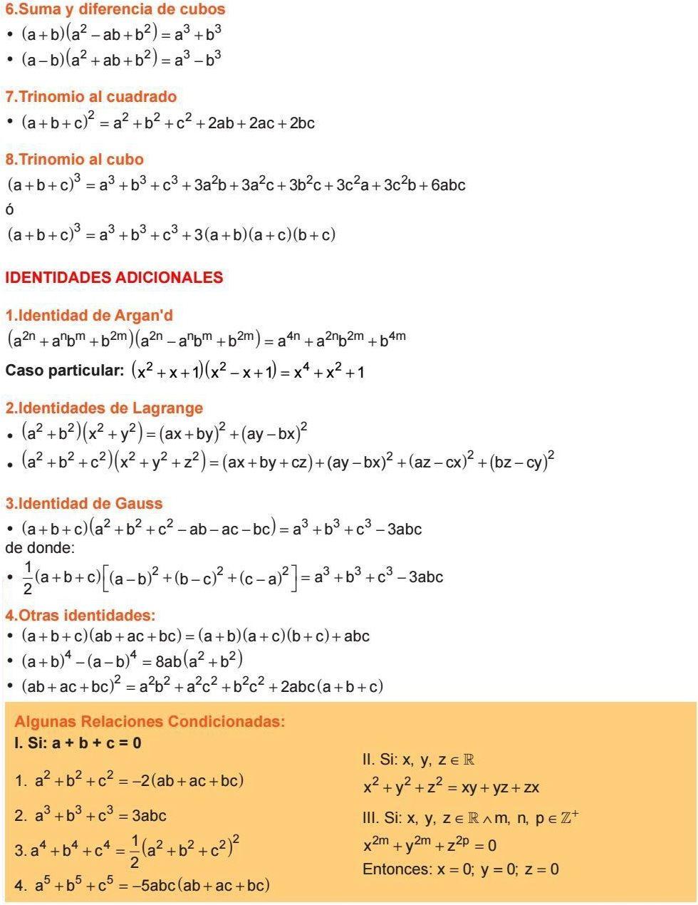 Suma Y Diferencia De Cubos Trinomio Al Cuadrado Trinomio Al Cubo Identidades Adicionales Identidad De Argan D Ldentidades De Lagra Math Formulas Algebra Math