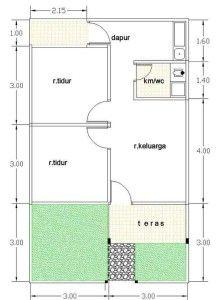 Denah Rumah minimalis type 21 | Rumah, Rumah minimalis