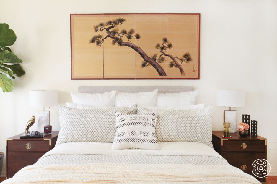 A Fashion Expert's Bright LA Bedroom - I kept the bedding simple, with warm ivory shams and pillowcases from West Elm and a cozy blanket from Target. - @Homepolish Los Angeles