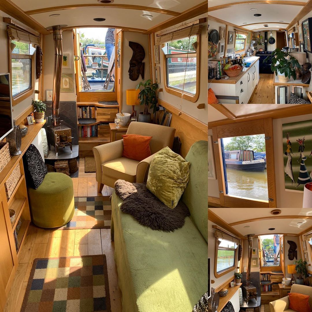 """Pauline Marshall's Instagram profile post: """"The sun came flooding in today 😊 #sunshine #narrowboatlife #narrowboat #narrowboatinterior #smallspaces #smallspaceliving #tinyhomes…"""""""