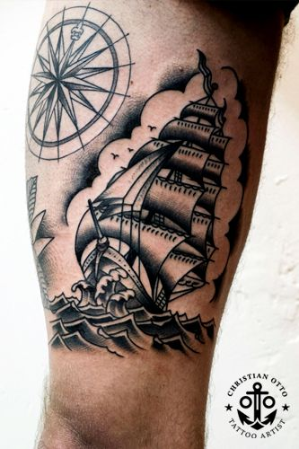 tattoo old school / traditional nautic ink - caravel and compass rose
