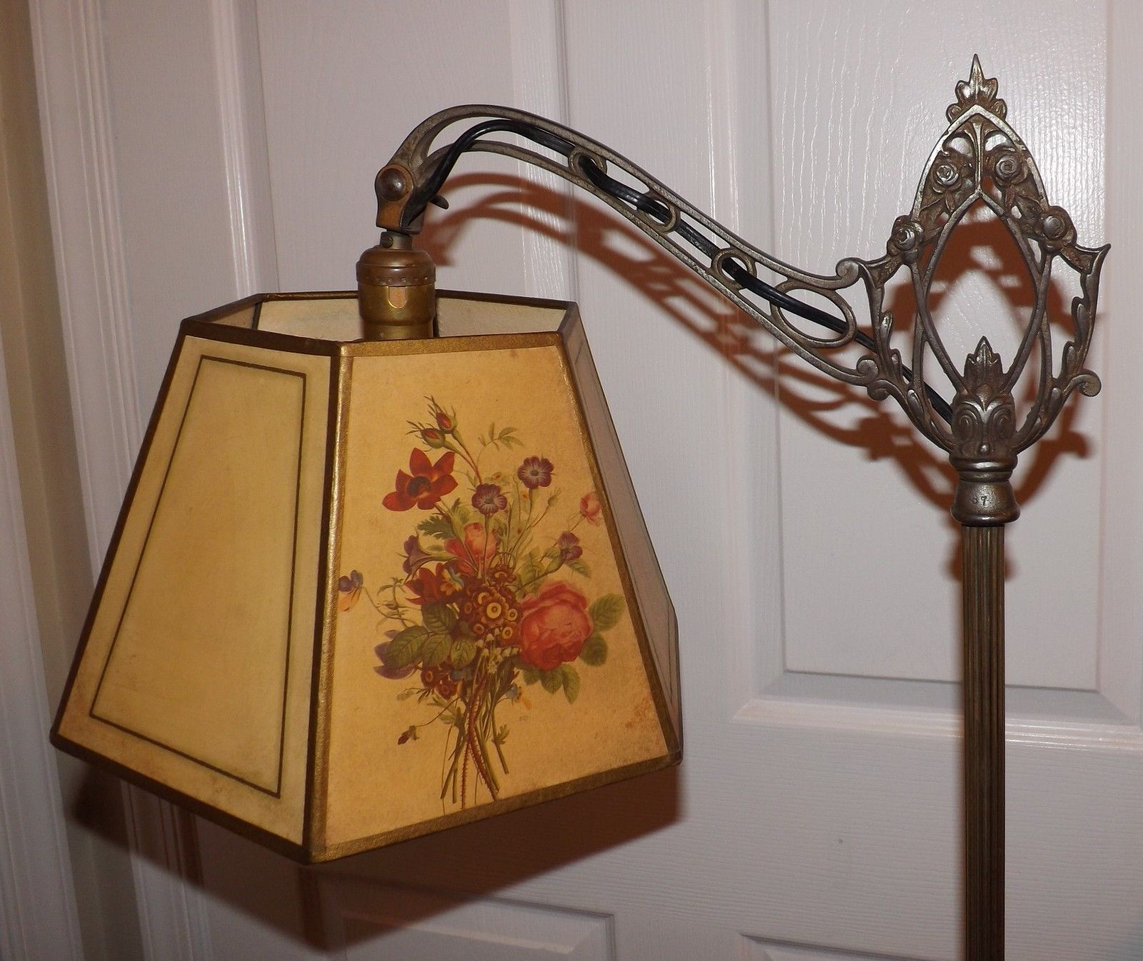 Dale tiffany floor lamps foter - Beautiful Antique Bridge Arm Lamp Silver Brass Finish Roses Flowers Shade