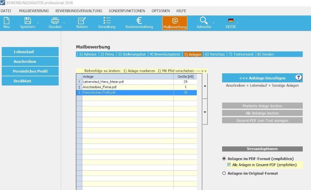 Die Software Erstellt Individuelle Bewerbungsunterlagen Inkl Bewerbungsschreiben Cv Lebenslauf Profil Dec Bewerbung Schreiben Bewerbung Online Bewerbung