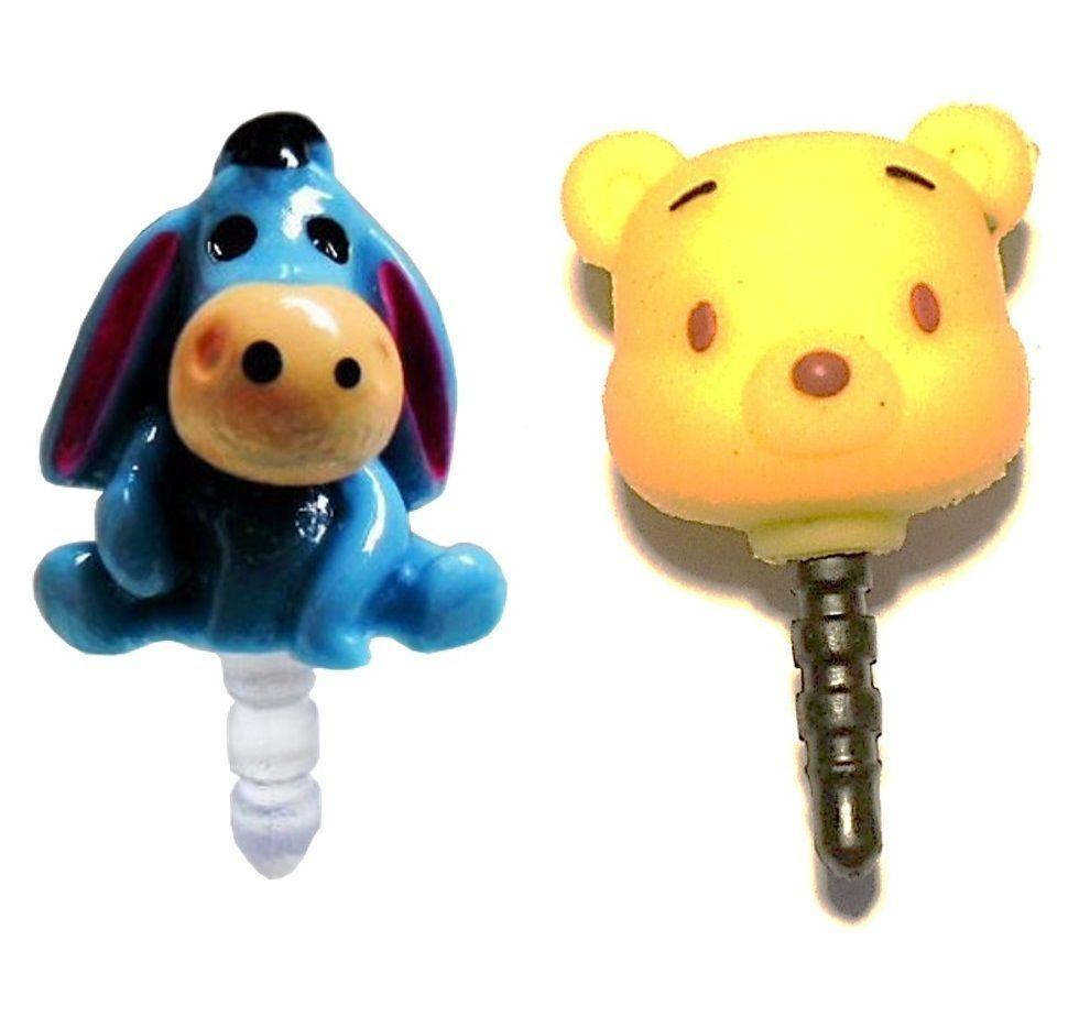 UNIVERSAL Winnie The Pooh & Eeyore Cute Dust Plug Cap Mobile Phone Charm Case