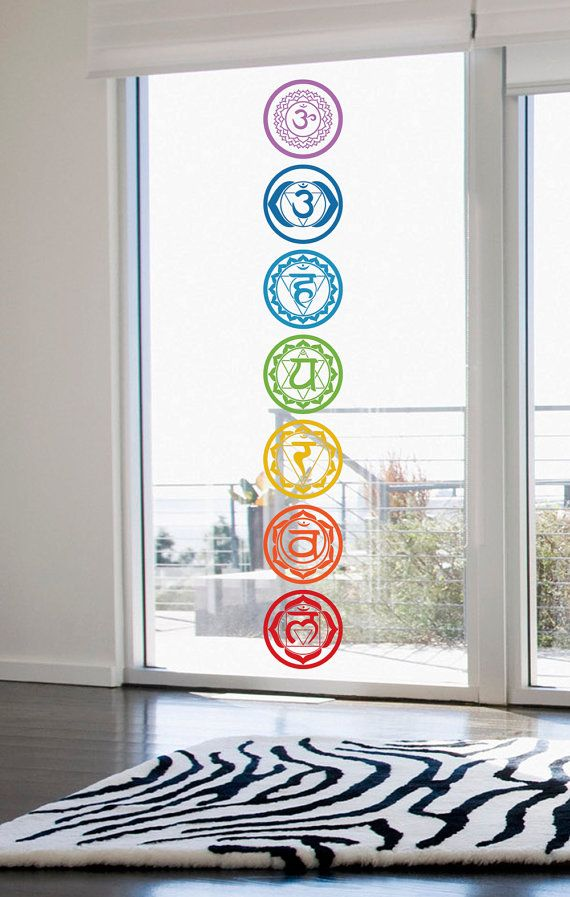 Chakras vinyl stickers set of 7 colored cut out stickers for Raumgestaltung yoga