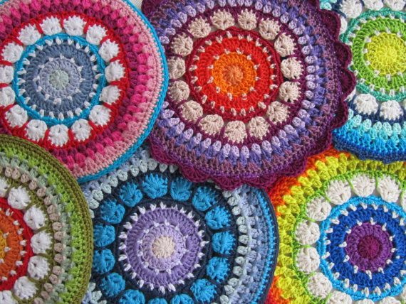 PDF Pattern Crochet Mandala/Potholder Rosetta | Häkeln, Waschlappen ...