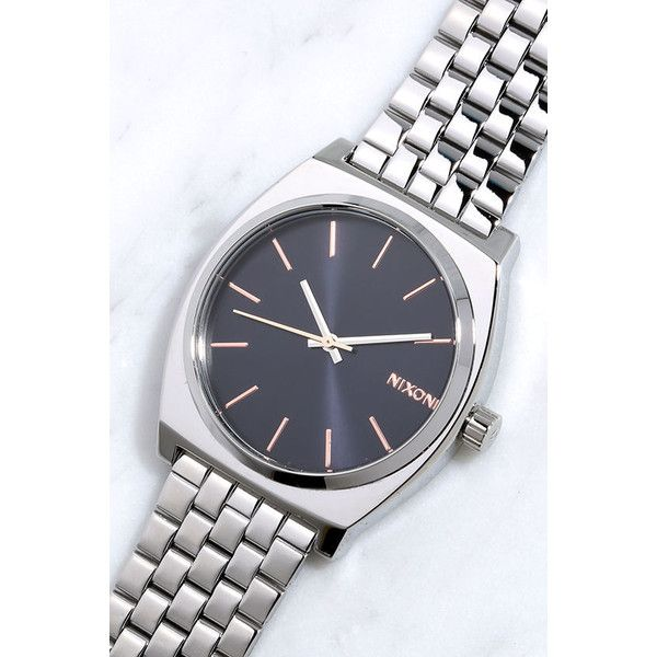 Jewel Nixon: Nixon Time Teller Navy And Rose Gold Watch ($100) Liked On