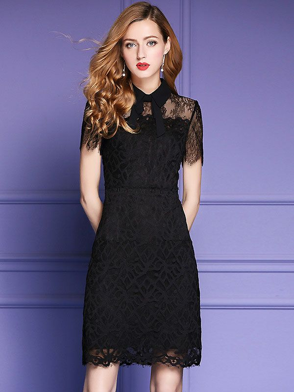 Vintage Turn Down Bowknot Collar Short Sleeve Lace Slim Dress ...