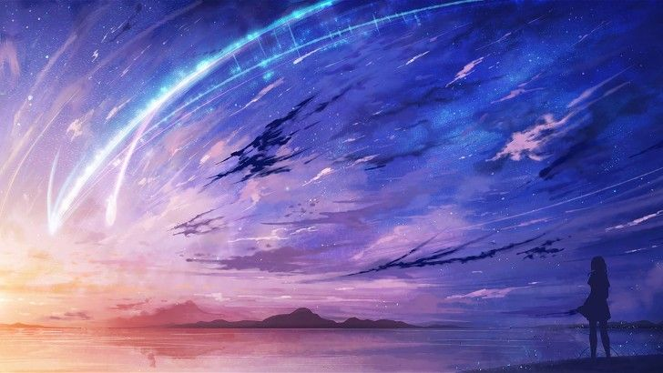 Anime Scenery Comet Night Sky Wallpaper