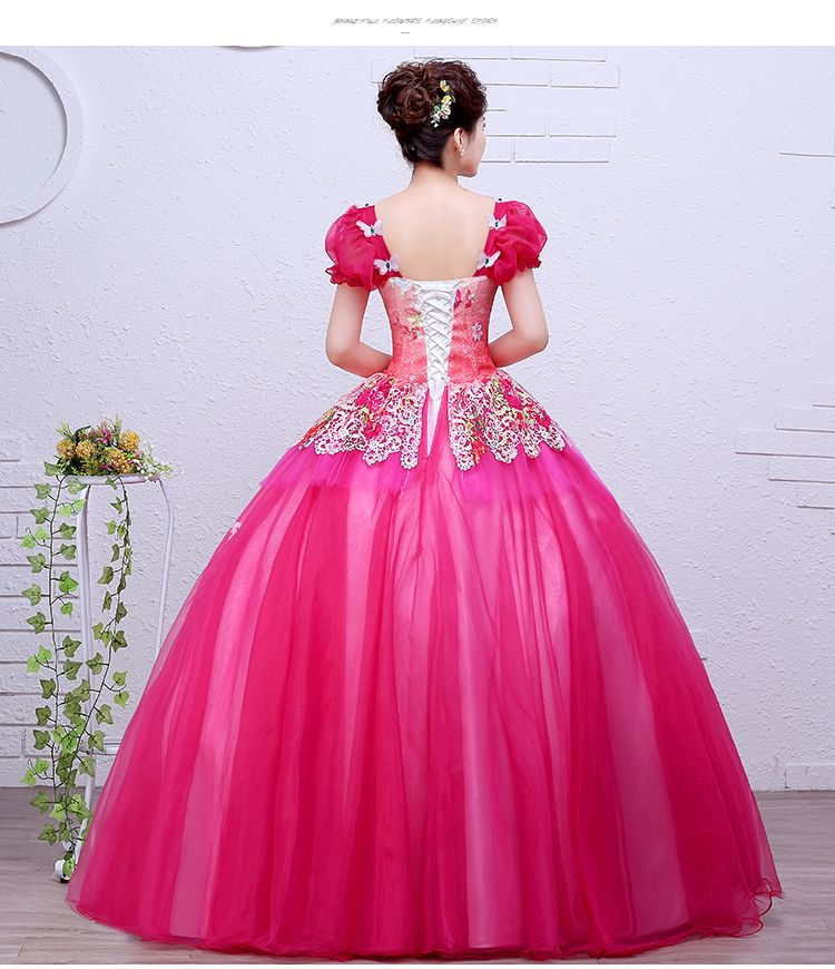 Hot pink/amarelo/verde da bolha da luva vestido de baile medieval ...