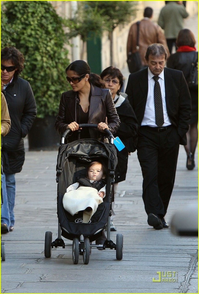 Salma Hayek Pushes A City Mini Stroller By Baby Jogger