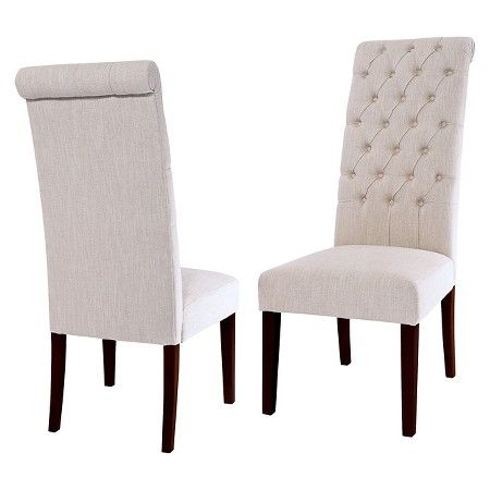 Tufted Tall Dining Chair Wood Natural Set Of 2
