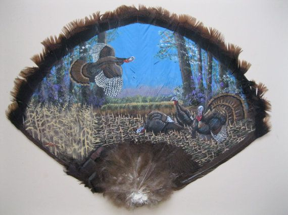 Hand Painted Turkey Fan with Turkey's By Wildlife Artist   Etsy   Feather  painting, Turkey fan, Hand painted