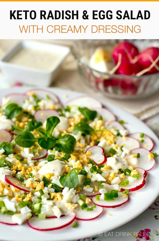Radish Salad With Egg Creamy Dressing Keto Gluten Free Recipe Radish Salad Egg Salad Salad