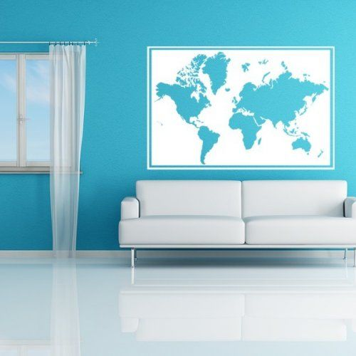 World map frame wall mural vinyl decal kids teens dorms livingroom world map frame wall mural vinyl decal kids teens dorms livingroom family room business gumiabroncs Images