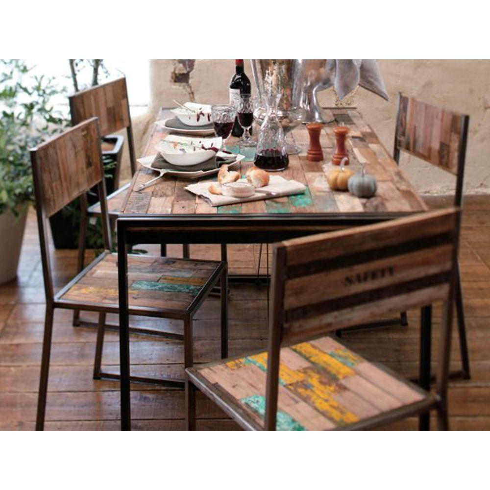 Tables Et Chaises Metal Et Bois De Bateau Recycles Meuble Bois Massif Chaise Metal Table Et Chaises