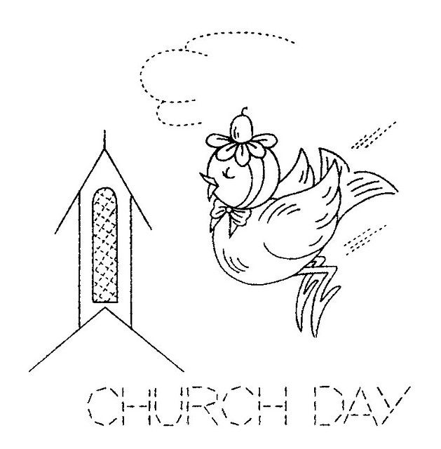 bird church day embroidery | Dibujos | Pinterest | Dibujo