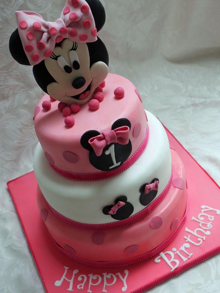 Minnie Mouse 3 Tier 1st Birthday Cake cakepinscom Party like