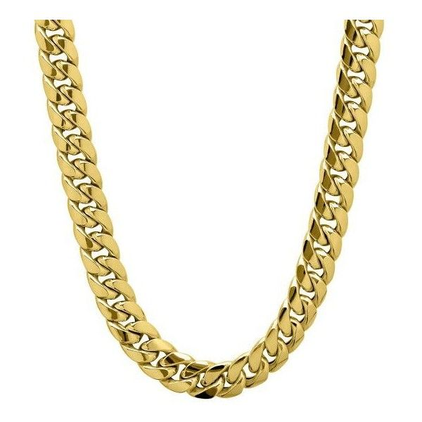 Miami Cuban Link Chain In 10k Gold 22 1 999 Liked On Polyvore Featuring Jewelry Necklaces Cha Gold Chains For Men Cuban Link Chain Mens Chain Necklace