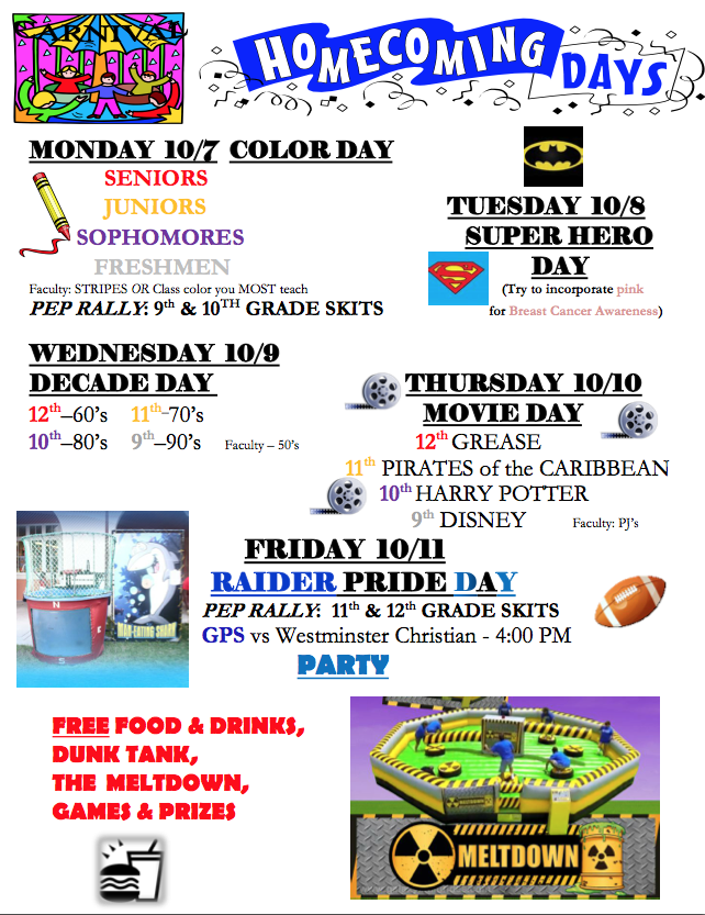 Good idea to have each day a theme and give each grade what to dress like.... | School spirit ...