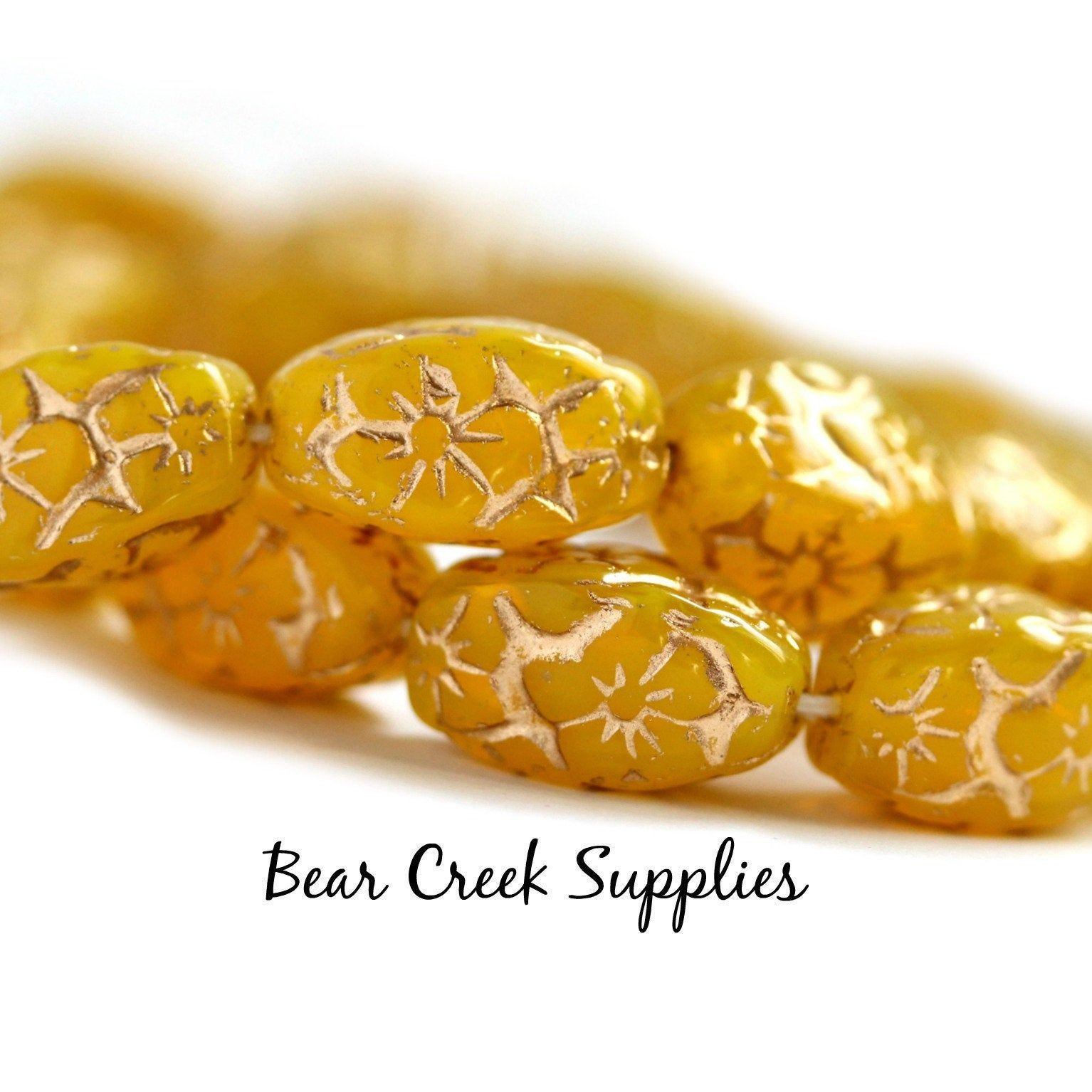 Lemon Carved 15mm Chunky Czech Glass Beads, Yellow