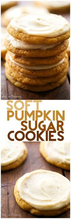 Soft Pumpkin Sugar Cookies with Caramel Cream Cheese Frosting... These will be…