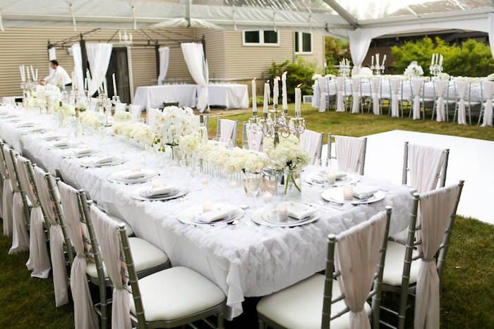 Elegant White Outdoor Dinner Party Dinner Party Table Outdoor