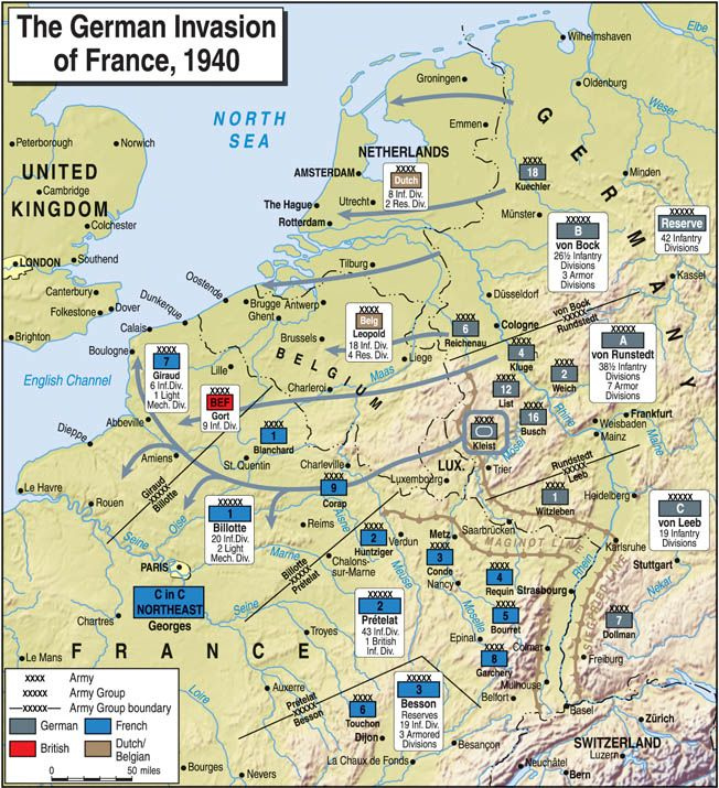 Map Of France And Holland Belgium.Using Blitzkreig Lightning War Tactics The Germans Army Groups