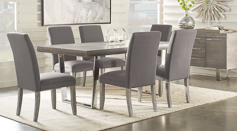 Cindy Crawford Home San Francisco Gray 5 Pc Dining Room From Furniture Rectangular Dining Room Table Dining Room Sets Grey Dining Tables