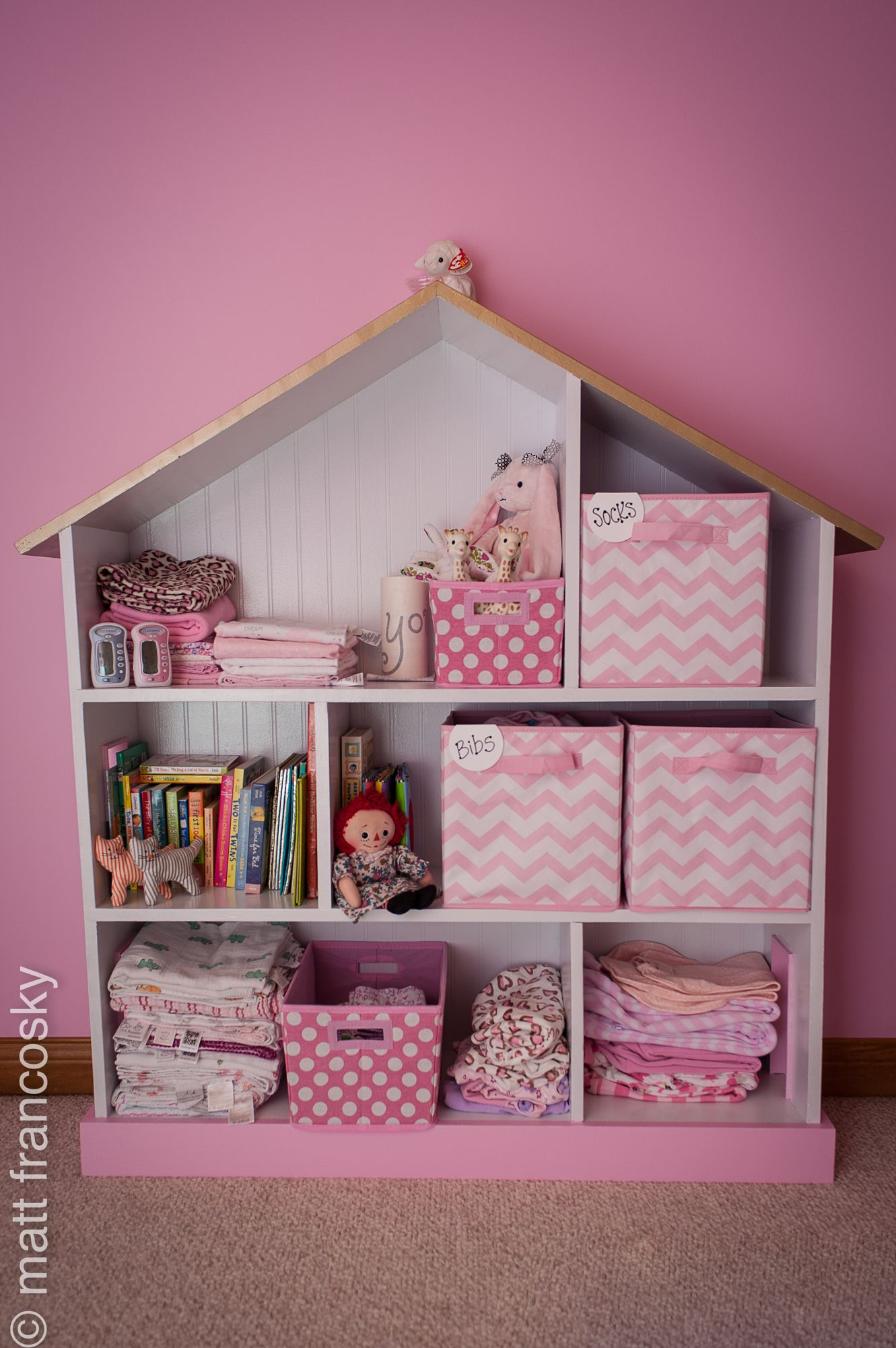 Gray and Pink Baby Girl Nursery Decor Grey Shelf with ...  Pink And Grey Bookcase