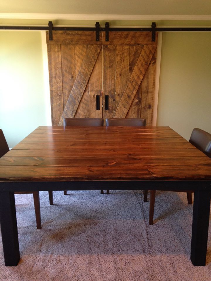 This Rustic Dining Room Is Made Complete With A Square Farmhouse Table Custom Built By James