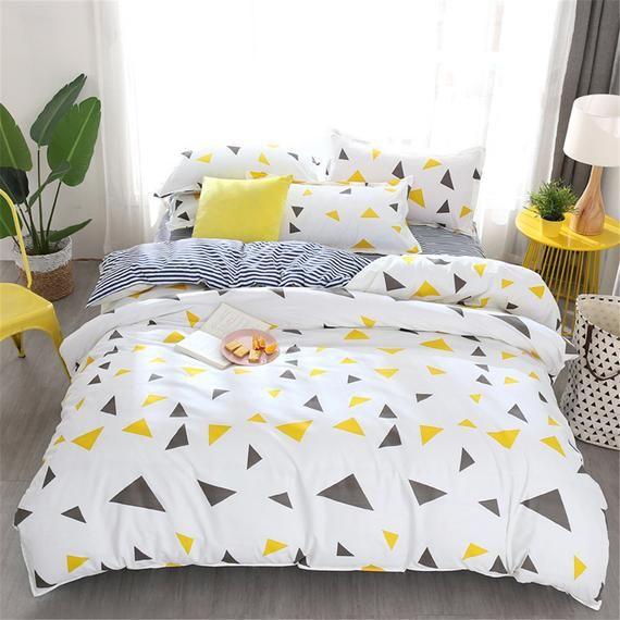 Modern Triangular Ornament Duvet Cover Set White Duvet Cover Etsy Bedding Sets Geometric Duvet Cover Duvet Cover Sets