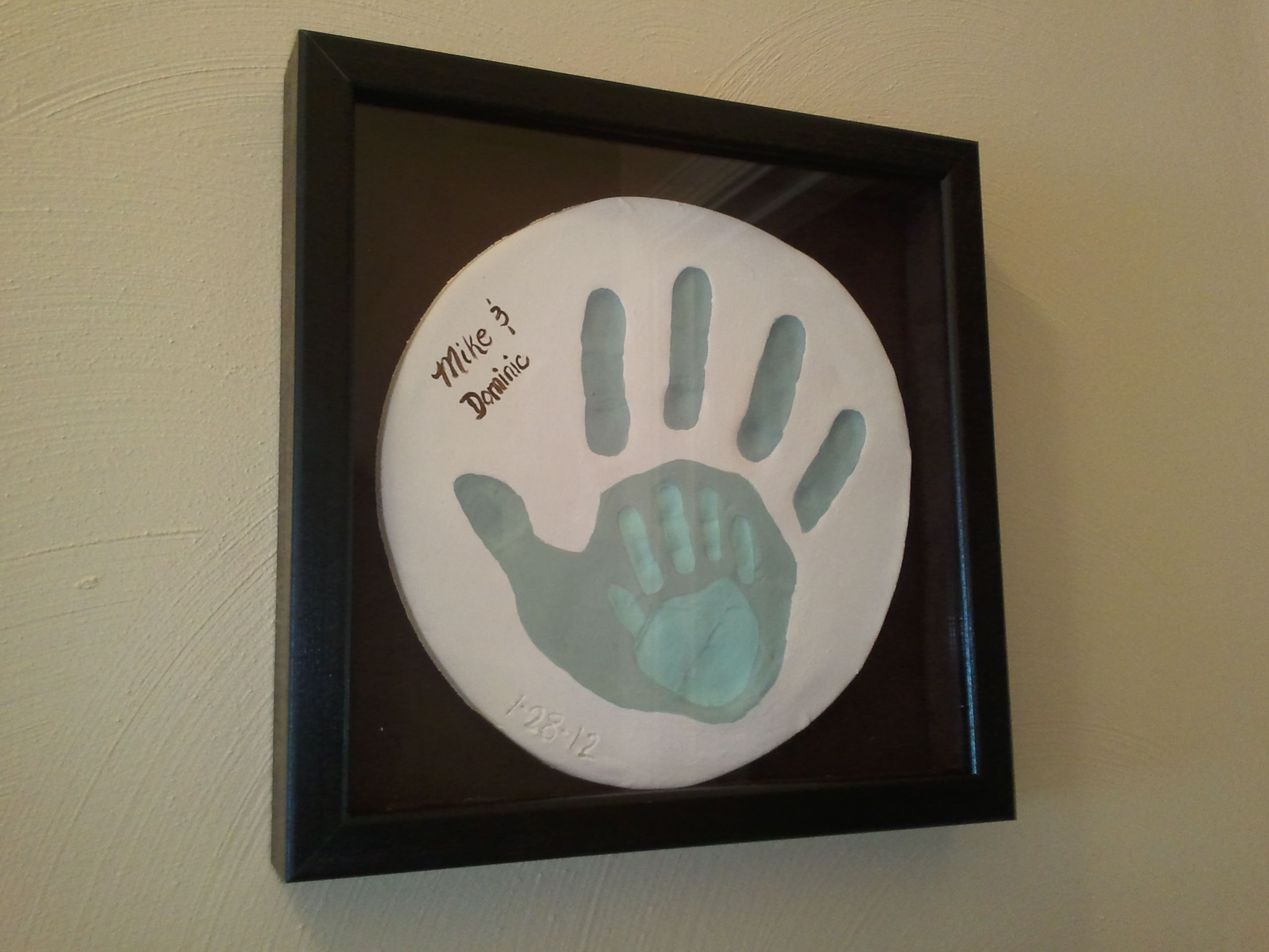 Handprints Pressed In Crayola Air Dry Clay Painted With Acrylic Paint And Used Velcro To Attach To A Christmas Presents For Parents Preschool Christmas Crafts