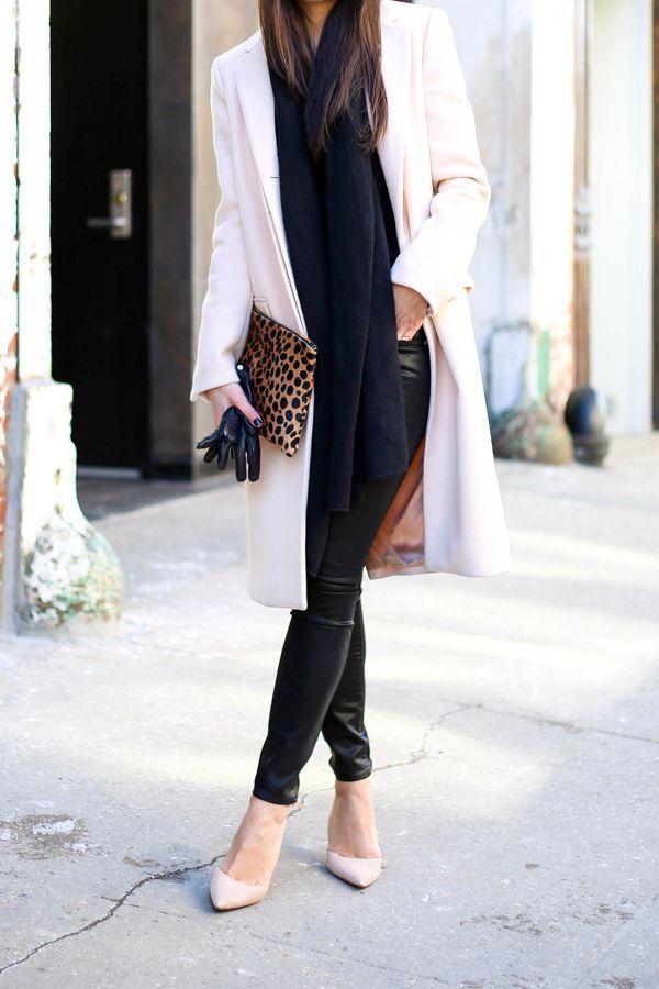 Leopard clutch + leather pants.
