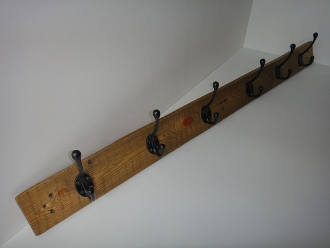 Recycled pallet wood, six hook coat rack