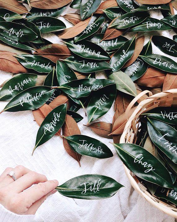 Frische Blätter Hochzeit Tischkarte, Blumen Hochzeit Tischkarte, Sommer-Tischkarten-Karte, Blatt Tischkarte #attireforwedding