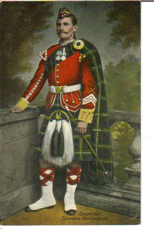 +~+~ Antique Photograph ~+~+  Handtinted photograph of a Drummer - Seaforth Highlanders.