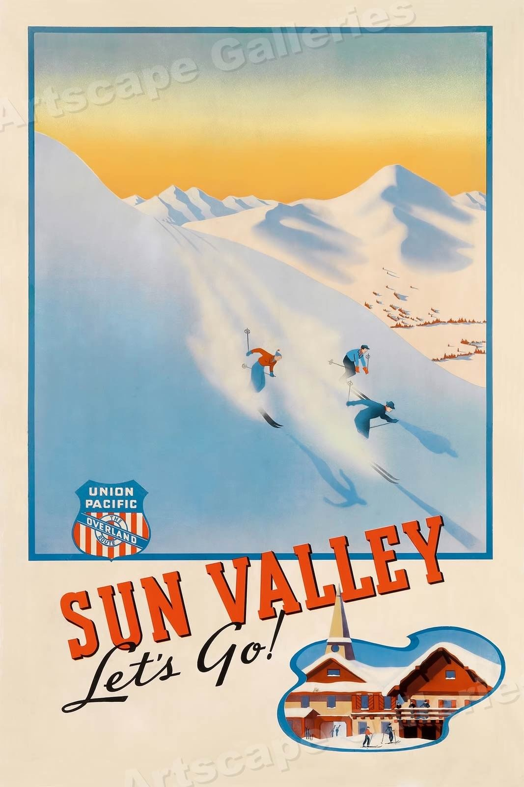 5a9fe273bf0  9.31 - 1940S Sun Valley Ski Resort Union Pacific Rr Vintage Skiing Snow  Print - 16X24  ebay  Collectibles