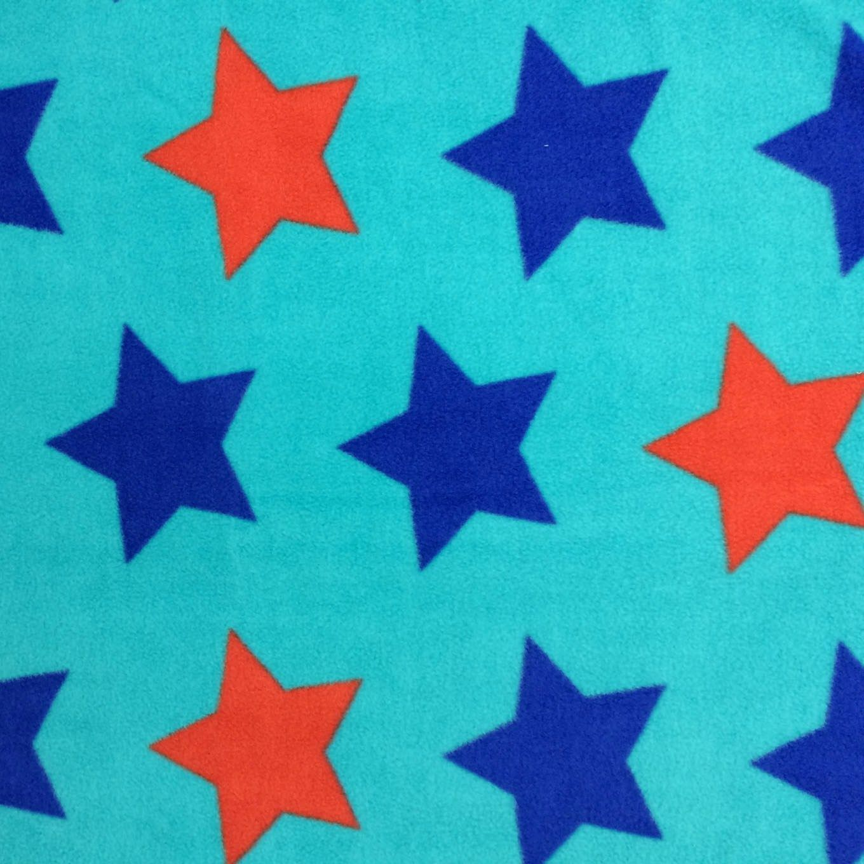 Extra wide premium fleece fabric stars on teal teal fabrics and