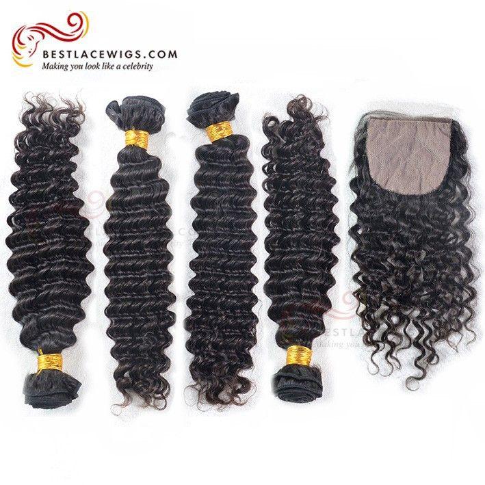 4Pcs Water Wave Peruvian Virgin Hair Weaves With Silk Top Closure | www.BestLaceWigs.com
