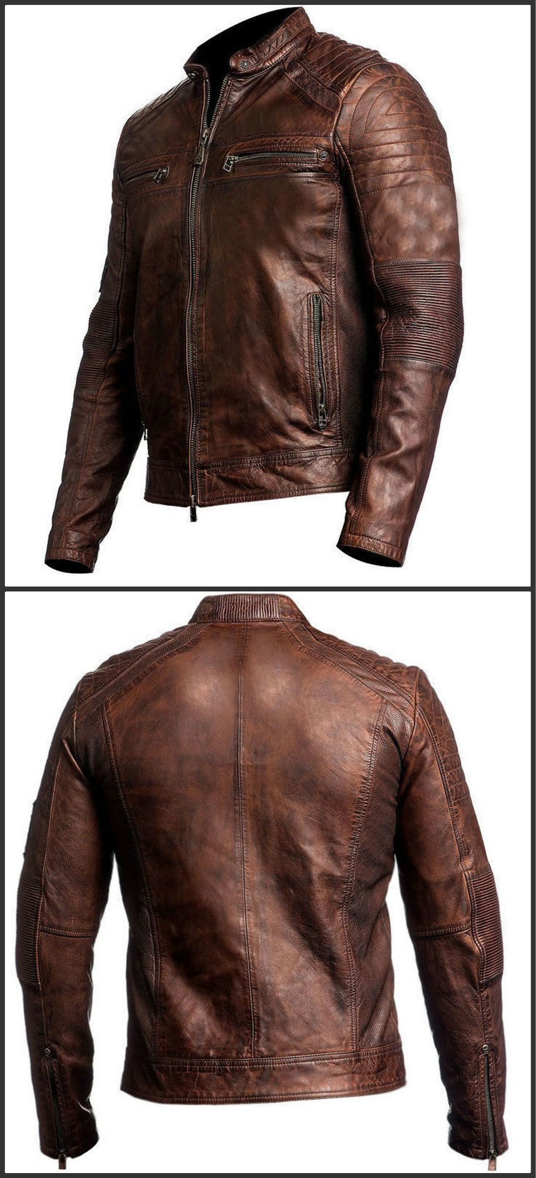 Biker Style Motorcycle Cafe Racer Distressed Leather Jacket for Sale On