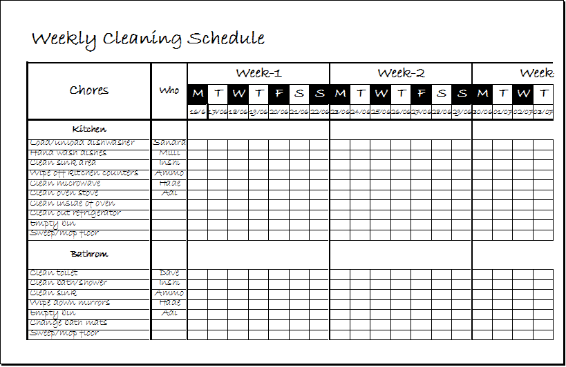 Weekly Clean Up Sheet Template DOWNLOAD at http://www.xltemplates ...
