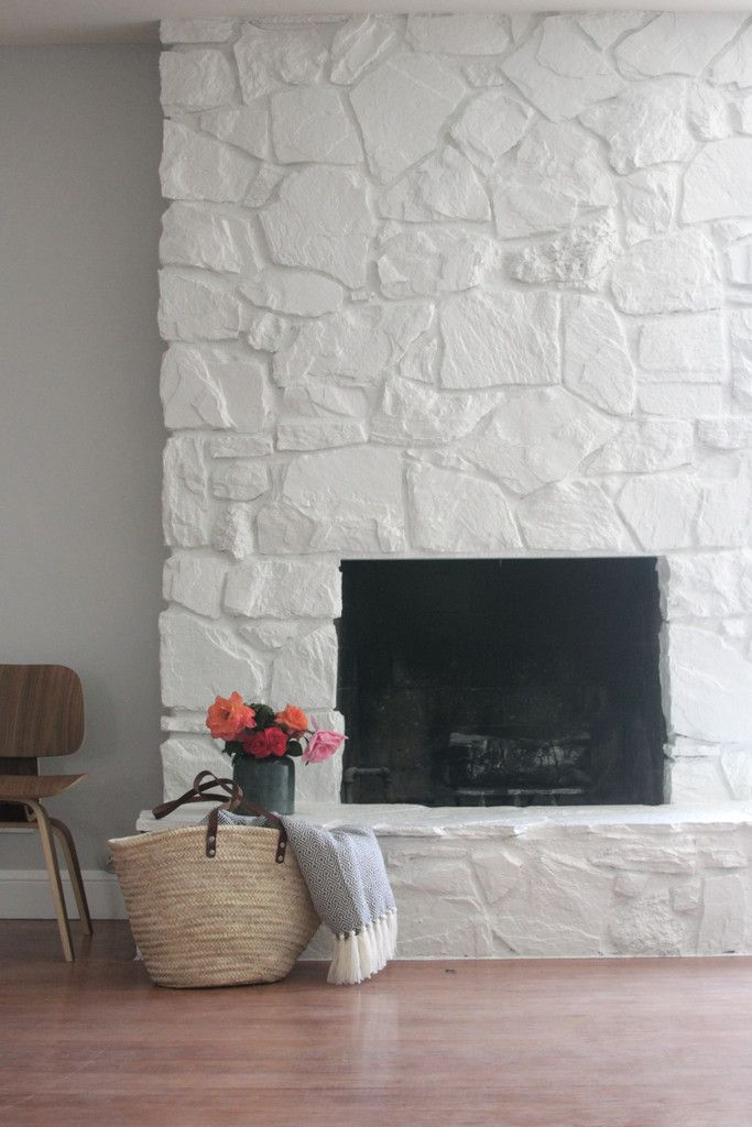 How To Painting The Stone Fireplace White Stone Fireplace Makeover Painted Stone Fireplace Painted Rock Fireplaces