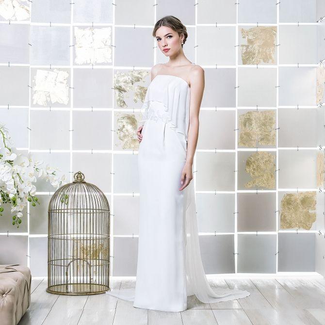 Gio Rodrigues Anna Wedding Dress stunning amazing wedding dress crepe crystal embrodery bandeau skin-toned tulle  engaged inspiration unique gorgeous elegant bride