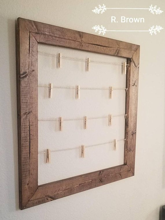 Rustic Clothespin Photo display. Baby shower display. Wedding photo display. Clothesline frame. 23″x 23″ Collage. frame. Mother's day gift