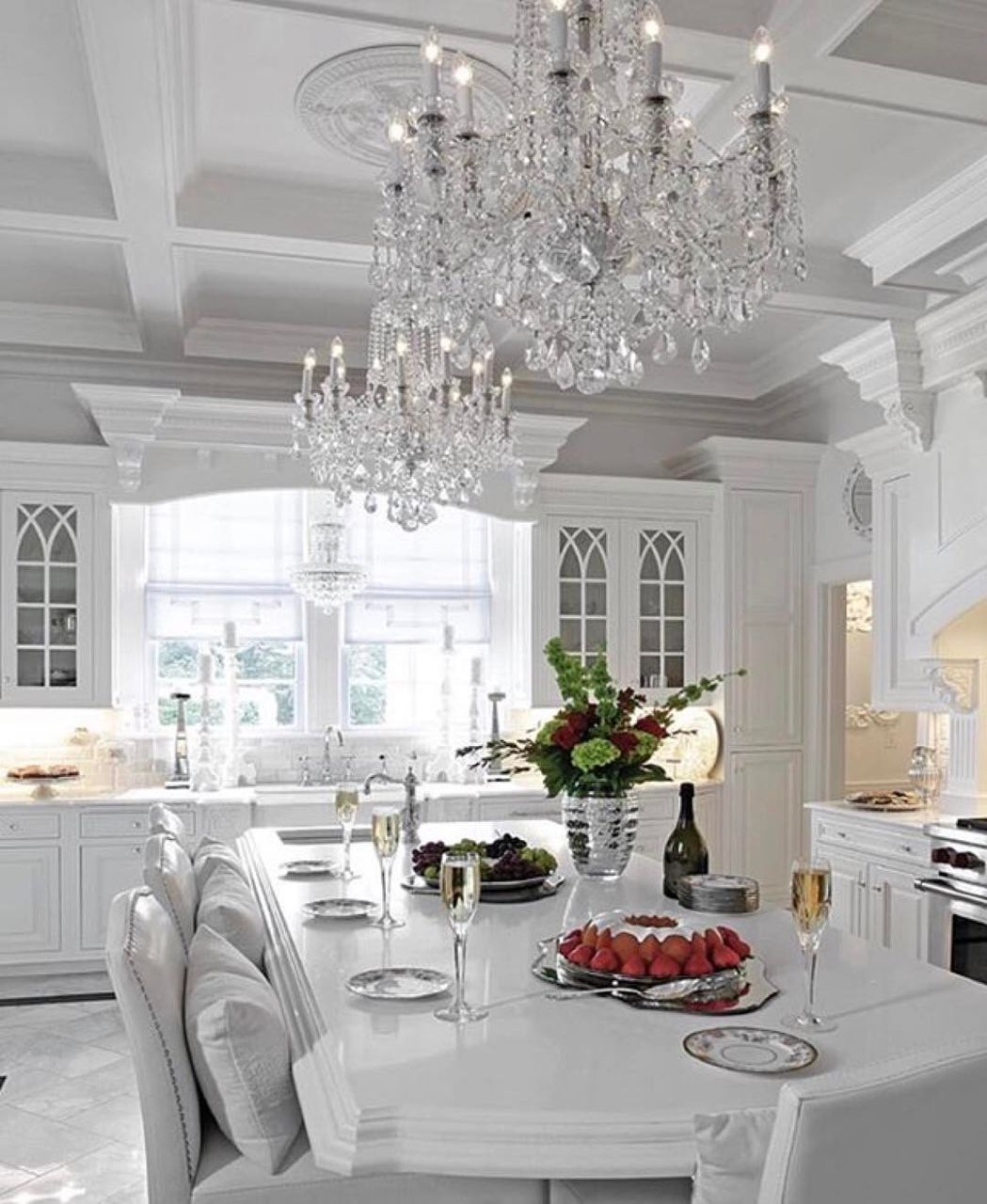 White On White Kitchen Crystal Chandeliers Coffered Ceilings