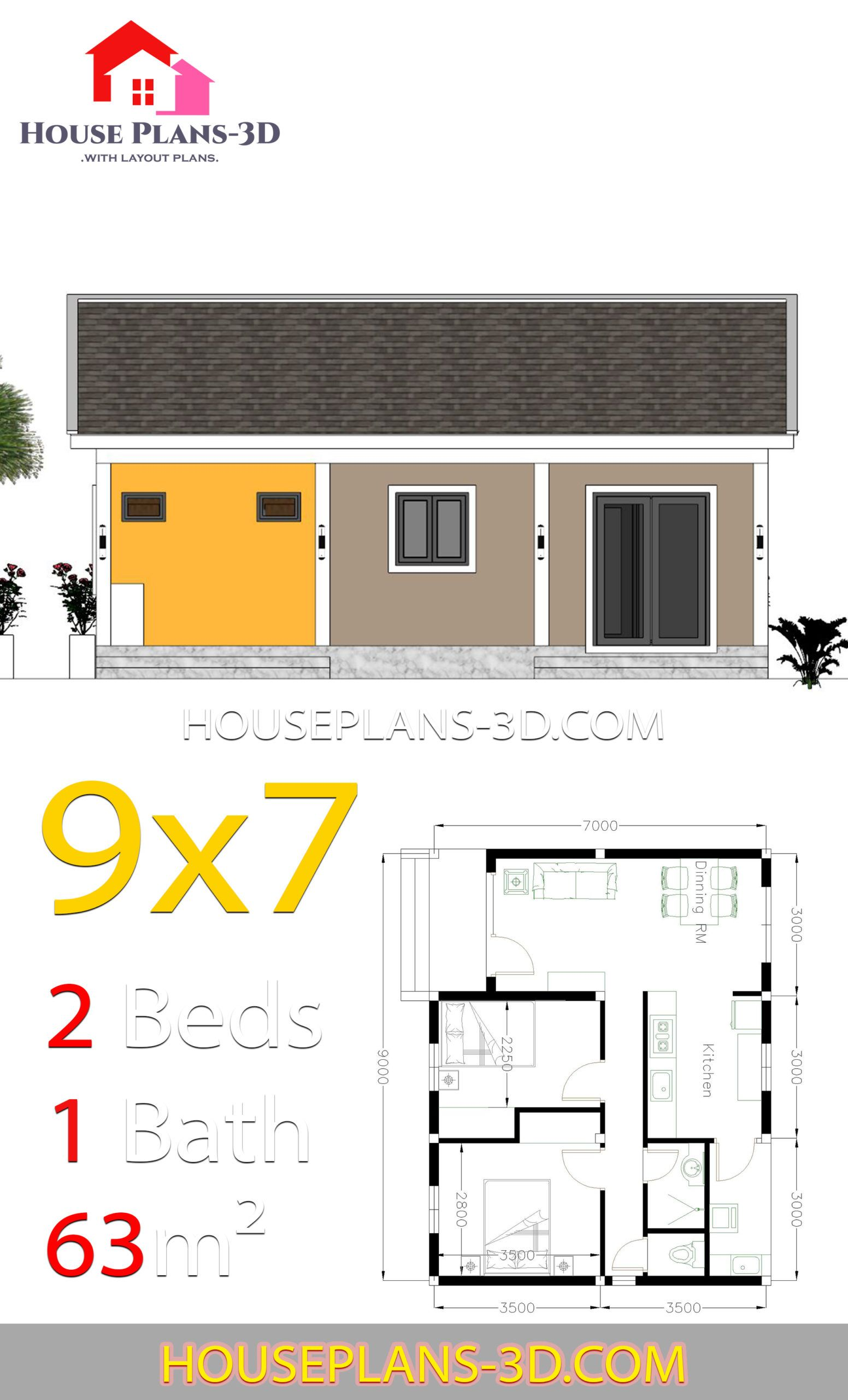 House Plans 9x7 With 2 Bedrooms Gable Roof House Plans 3d House Plans Gable Roof House Diy House Plans