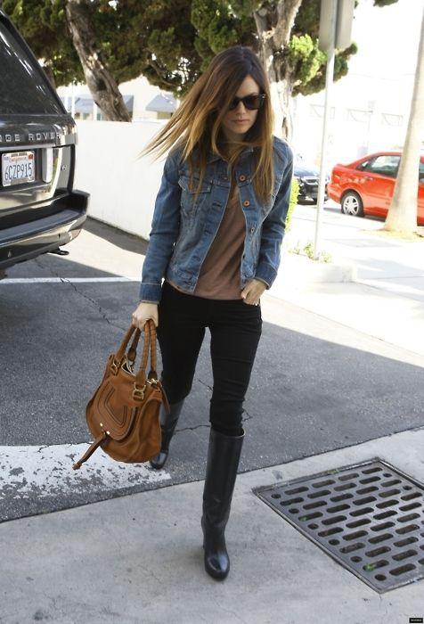 black pants + black boots + jean unbuttoned shirt or jacket
