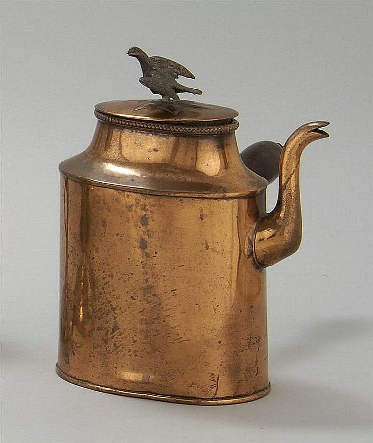 Rare Early Hand Wrought Copper Side Handled Coffeepot Late