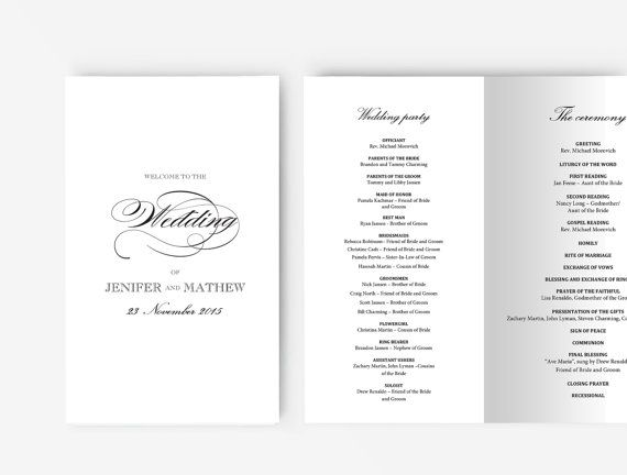 Wedding Program Template Editable Word template Instant wedding - program templates word
